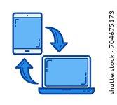 mobile data synchronization... | Shutterstock .eps vector #704675173