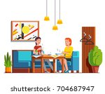 two woman eating lunch  ... | Shutterstock .eps vector #704687947