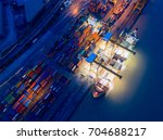 containers yard in port... | Shutterstock . vector #704688217
