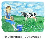 cute girl with jar and bucket... | Shutterstock . vector #704690887