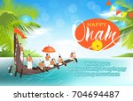 happy onam background with boat ... | Shutterstock .eps vector #704694487