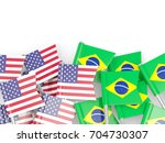 flag pins of usa and brazil... | Shutterstock . vector #704730307