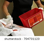 medical surgical hazardous... | Shutterstock . vector #704731123