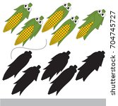 funny corn with different... | Shutterstock .eps vector #704745727