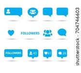 like  follower  comment icons ... | Shutterstock .eps vector #704746603