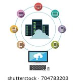 data center. cloud storage.... | Shutterstock .eps vector #704783203