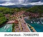 town of padang bai aerial view. ... | Shutterstock . vector #704803993