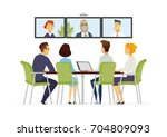 distance meeting   vector... | Shutterstock .eps vector #704809093