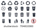 trash icons and recycle signs | Shutterstock .eps vector #704810383