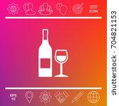 bottle of wine and wineglass... | Shutterstock .eps vector #704821153