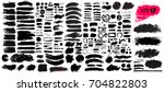 Big collection of black paint, ink brush strokes, brushes, lines, grungy. Dirty artistic design elements, boxes, frames. Vector illustration. Isolated on white background. Freehand drawing. | Shutterstock vector #704822803
