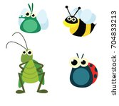 variation of bugs insect mixed... | Shutterstock .eps vector #704833213