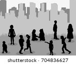 silhouette group of children...