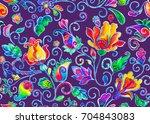 watercolor wild rose hips ... | Shutterstock . vector #704843083