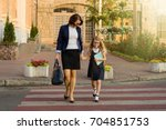 woman and  child   a young... | Shutterstock . vector #704851753