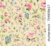 seamless watercolor rose...   Shutterstock . vector #704858617