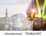 double exposure of engineer... | Shutterstock . vector #704862487