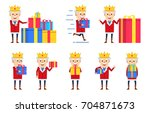 set of old king characters... | Shutterstock .eps vector #704871673