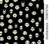 seamless halloween pattern with ... | Shutterstock .eps vector #704874763