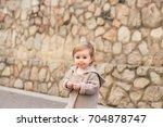 autumn baby portrait in warm... | Shutterstock . vector #704878747