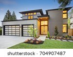 luxurious new construction home ... | Shutterstock . vector #704907487