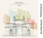 gateway of india in mumbai ... | Shutterstock .eps vector #704922613