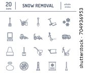 Snow Removal Flat Line Icons....