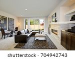 cozy living room space with wet ... | Shutterstock . vector #704942743