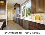 lovely kitchen features wood... | Shutterstock . vector #704943487