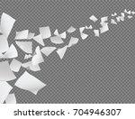 vector white papers flying on... | Shutterstock .eps vector #704946307