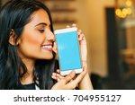 smartphone template  young... | Shutterstock . vector #704955127