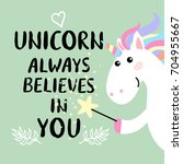 cute magical white unicorn with ...   Shutterstock .eps vector #704955667