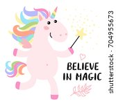 cute magical unicorn with magic ... | Shutterstock .eps vector #704955673