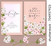 save the date card  wedding... | Shutterstock .eps vector #704957923