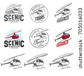 set of retro helicopter related ... | Shutterstock . vector #705016033
