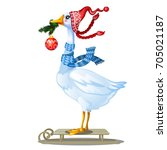 cute animated goose in knitted... | Shutterstock .eps vector #705021187