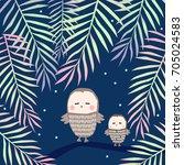 owl on a branch | Shutterstock .eps vector #705024583