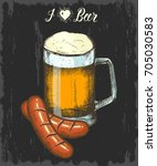 set with hand drawn beer and... | Shutterstock . vector #705030583