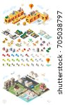 build your own city . set of... | Shutterstock .eps vector #705038797