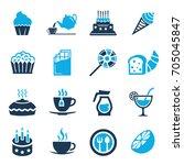cafe  sweet  baked  desserts... | Shutterstock .eps vector #705045847