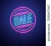 retro sale neon sign. vector...   Shutterstock .eps vector #705047347