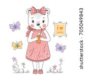 cute little bear girl drinking... | Shutterstock .eps vector #705049843
