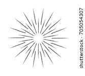 linear drawing of rays of the... | Shutterstock .eps vector #705054307