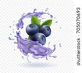 blueberry juice realistic... | Shutterstock .eps vector #705070693