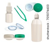 contact lens  container and... | Shutterstock .eps vector #705076603