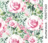 hand made roses background.... | Shutterstock . vector #705077263