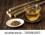 burdock tea | Shutterstock . vector #705081007