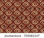 brown classic batik flora   Shutterstock .eps vector #705082147