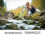 sweet  cute little girl and... | Shutterstock . vector #705095227