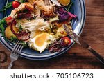 top view of croissant bacon and ...   Shutterstock . vector #705106723